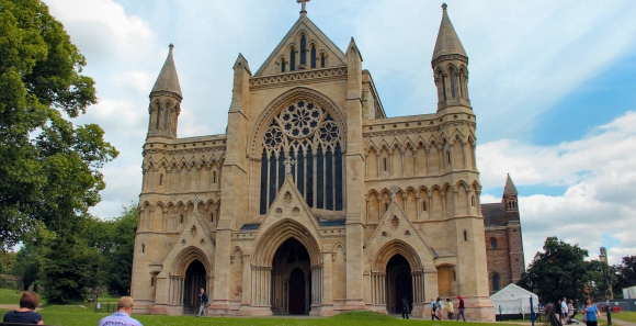 Aiano bespoke floodlight guards for St Alban's Cathedral made of stainless steel