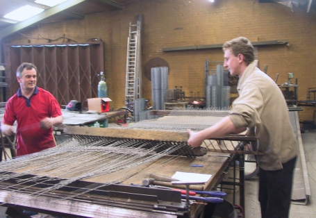 Weaving the mesh for Aiano church window guards