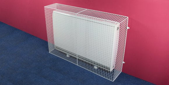 The QM150-AIA wire mesh guard installed on the Dimplex QM150