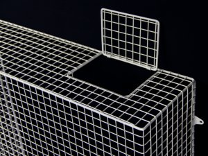 AIANO wire mesh guards can be fitted with optional lockable control flaps to provide easy access to the heater controls