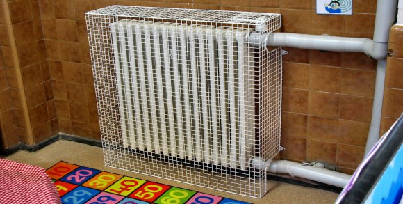Aiano bespoke heater guard in Hanover Primary School, Islington.