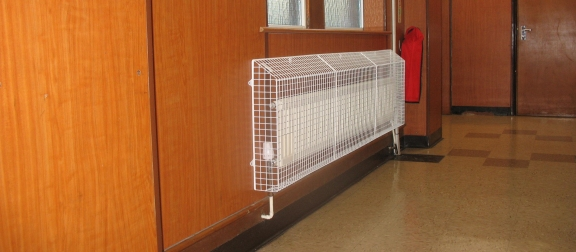 AIANO sloping top radiator guards for a faith school in Hackney