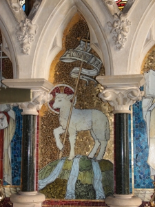 a detail of the mosaic and reredos at St. Mary's