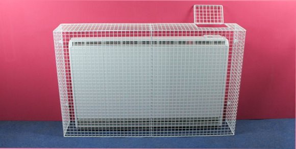 The XLE150-AIA wire mesh guard with a control access flap installed on the Dimplex XLE150