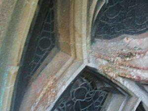 Bird damage requiring complex church window guards