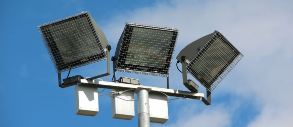 Bespoke wire mesh floodlight guards for George Carey Primary School